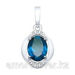 Подвеска из серебра с синим топазом и фианитами   SOKOLOV 92030465