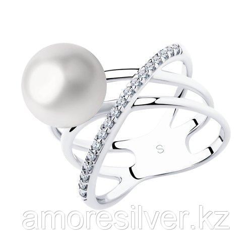 Кольцо из серебра с жемчугом и фианитами    SOKOLOV 94012970