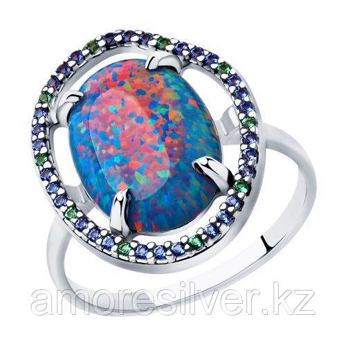 Кольцо из серебра с синим опалом и фианитами   SOKOLOV 83010055