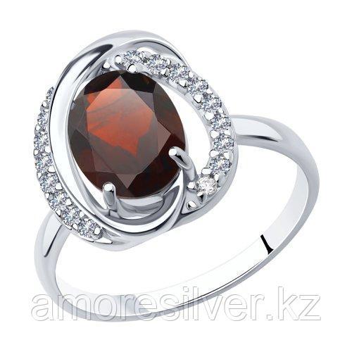 Кольцо из серебра с гранатом и фианитами    SOKOLOV 92011939