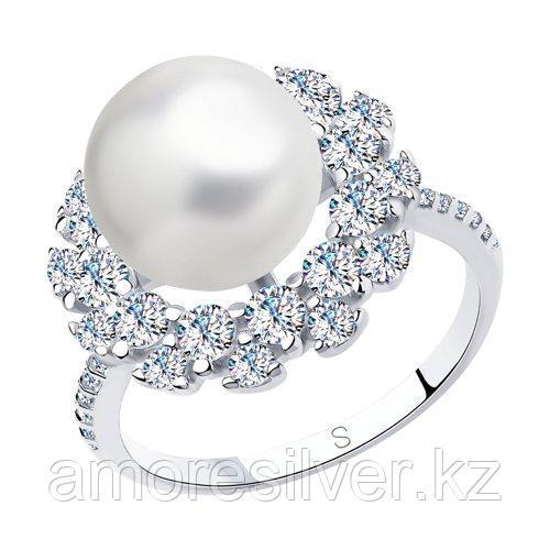 Кольцо из серебра с жемчугом и фианитами    SOKOLOV 94012994 размеры - 17 19,5