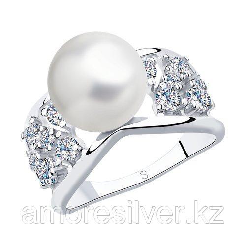 Кольцо из серебра с жемчугом и фианитами    SOKOLOV 94012993