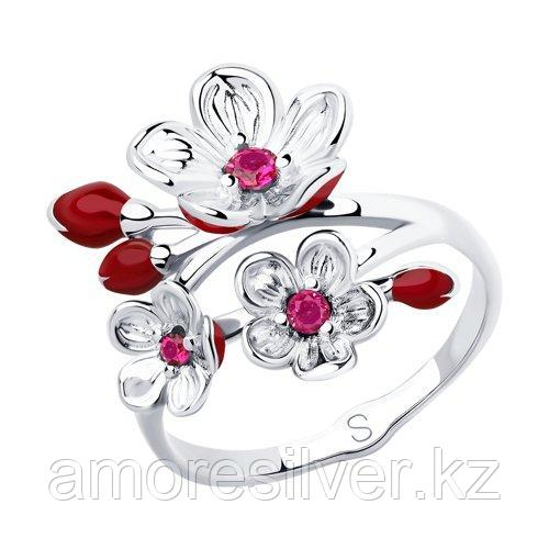 Кольцо из серебра с эмалью и фианитами    SOKOLOV 94012856 размеры - 16,5 17 17,5 18 18,5 19 19,5 20