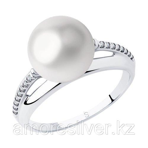Кольцо из серебра с жемчугом и фианитами    SOKOLOV 94012995 размеры - 18 18,5 19 19,5