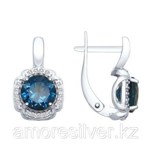 Серьги из серебра с синими топазами и фианитами   SOKOLOV 92021680