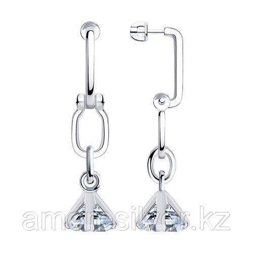Серьги из серебра с фианитами  SOKOLOV 94024115