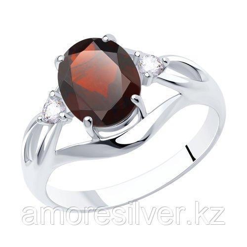 Кольцо из серебра с гранатом и фианитами    SOKOLOV 92011942
