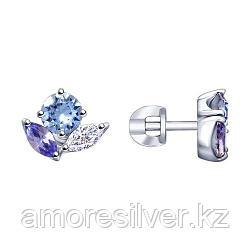 Серьги из серебра с бесцветными, синими и сиреневыми кристаллами Swarovski SOKOLOV 94023067