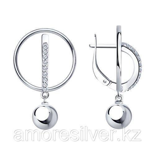 Серьги из серебра с фианитами  SOKOLOV 94024037