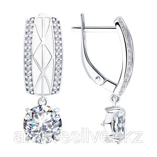 Серьги из серебра с эмалью и фианитами   SOKOLOV 94023427