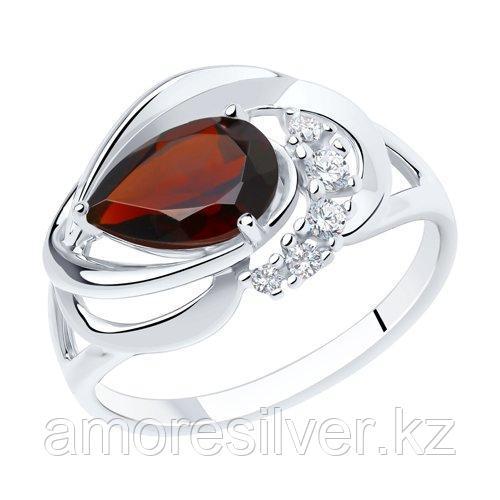 Кольцо из серебра с гранатом и фианитами    SOKOLOV 92011916