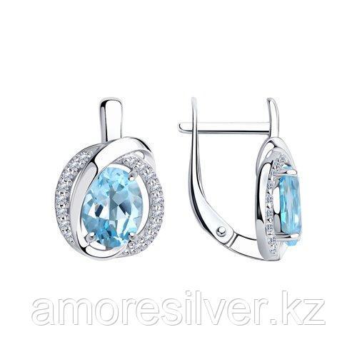 Серьги из серебра с топазами и фианитами    SOKOLOV 92022266