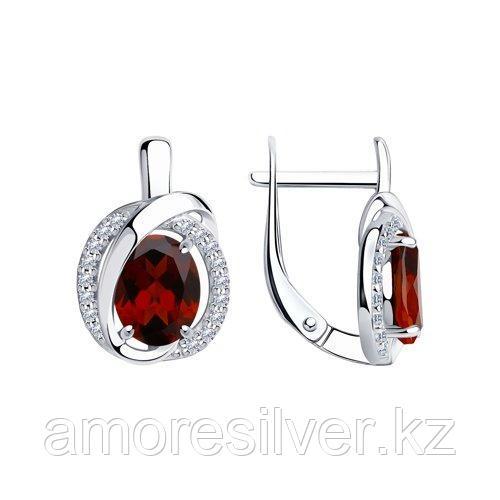 Серьги из серебра с гранатами и фианитами    SOKOLOV 92022267