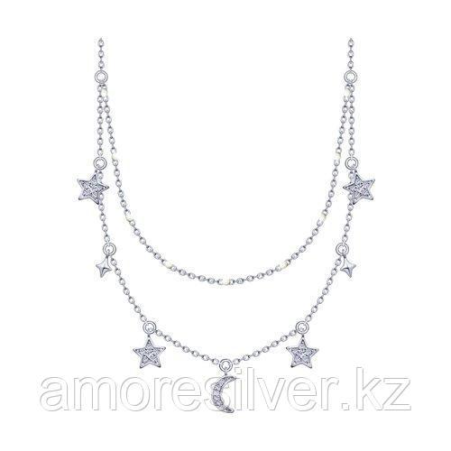 Колье из серебра с эмалью и фианитами  SOKOLOV 94070155