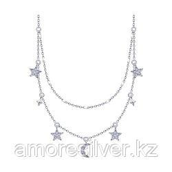 Колье SOKOLOV серебро с родием, эмаль фианит  94070155 размеры - 42