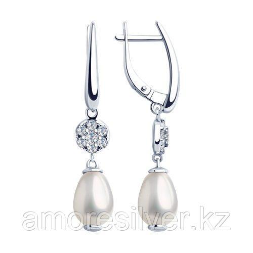 Серьги из серебра с жемчугом Swarovski и фианитами  SOKOLOV 94023274