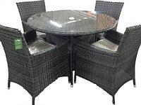 Обеденный ротанговый комплект Круглый стол + 4 кресла