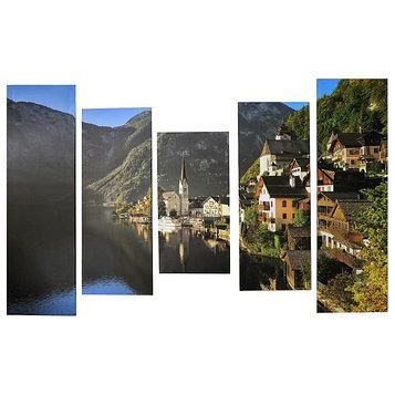 """Модульная картина на подрамнике """"Город у горной реки"""", 2 — 60×30, 2 — 80×30, 1 — 100×30, 150×100"""