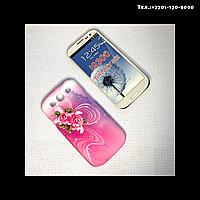 Чехол-крышка на телефон Samsung Galaxy S3/i9300 цветы на розовом