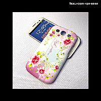 Чехол-крышка на телефон Samsung Galaxy S3/i9300 мелкие цветы бледно-розовые
