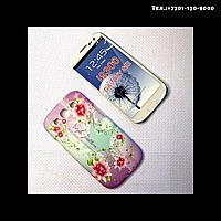 Чехол-крышка на телефон Samsung Galaxy S3/i9300 мелкие цветы бледно-сиреневые