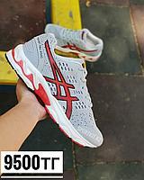 Кроссовки asics серые с красными узорами, фото 1