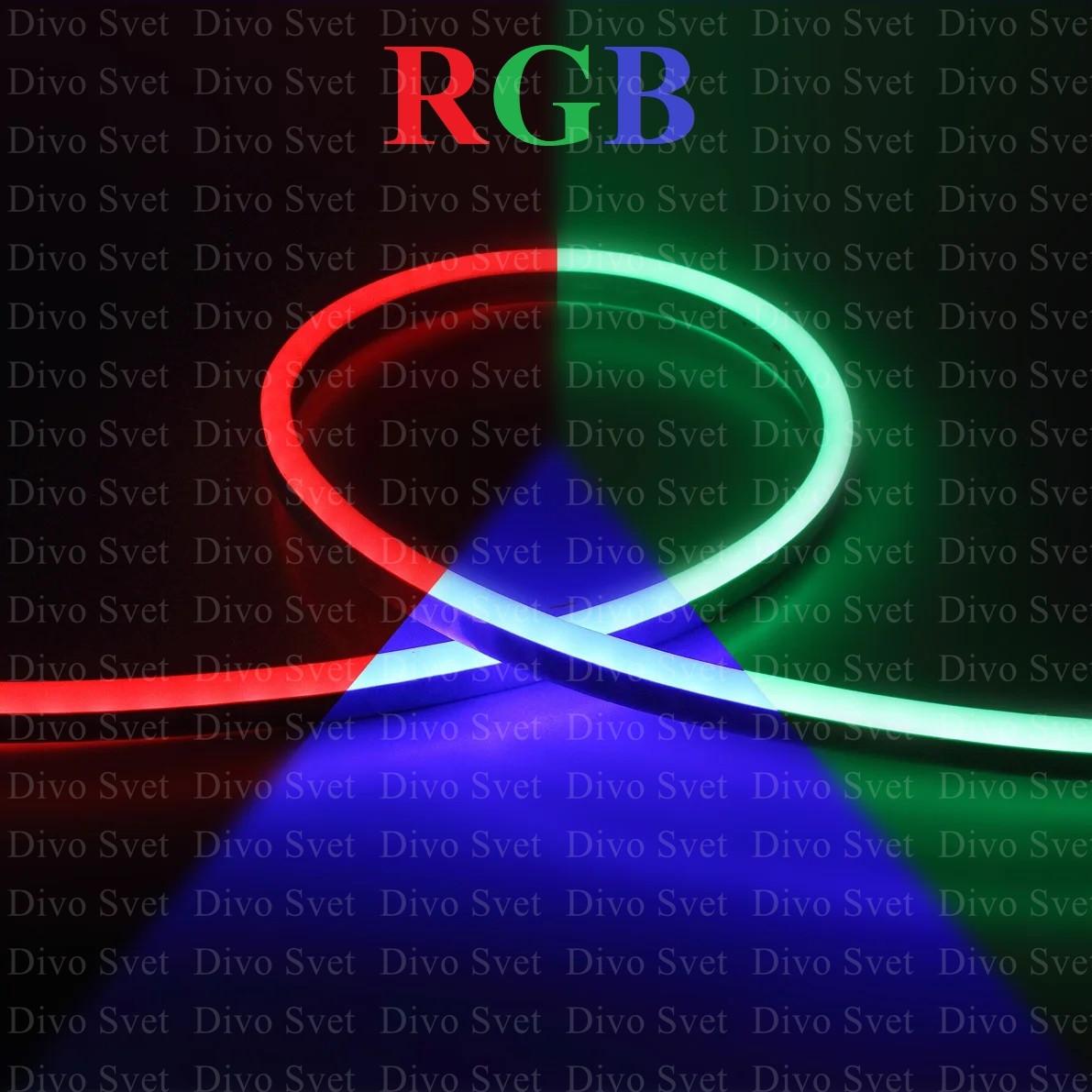Флекс неон SMD круглый, многоцветный RGB. Led Flex neon, гибкий неоновый шнур. Неоновая лента цветная.