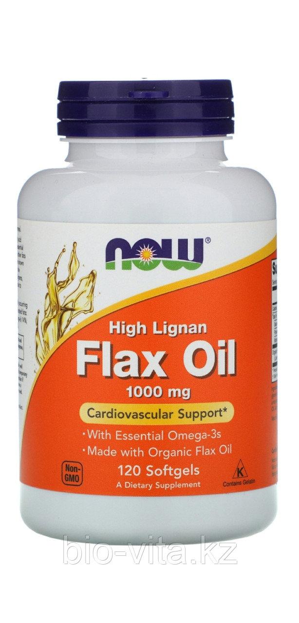 Льняное масло с высоким содержанием лигнана, сертифицированное органическое, 1000 мг, 120 желатиновых капсул.