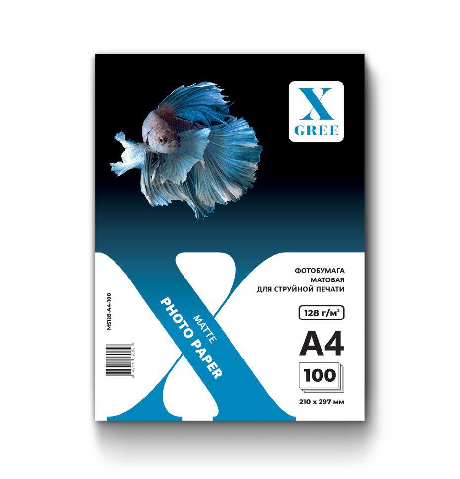 MS128-A4-100 Фотобумага для струйной печати X-GREE Матовая A4*210x297мм/100л/128г NEW (20)