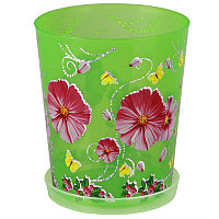 """Горшок цветочный """"Камилла"""" для орхидеи с поддоном, 1.2 л, Прозрачно-зеленый, М2803"""