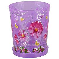 """Горшок цветочный """"Камилла"""" для орхидеи с поддоном, 1.2 л, Прозрачно-фиолетовый, М2801"""