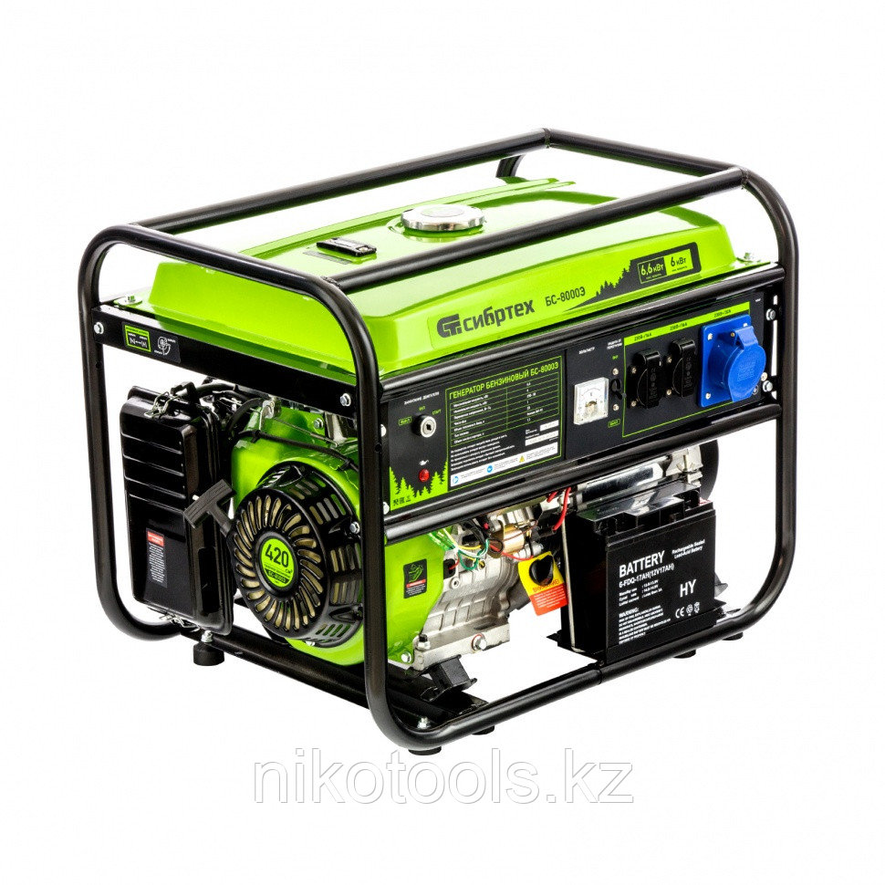 Генератор бензиновый БС-8000Э, 6,6 кВт, 230В, 4-х такт., 25 л, электростартер// Сибртех