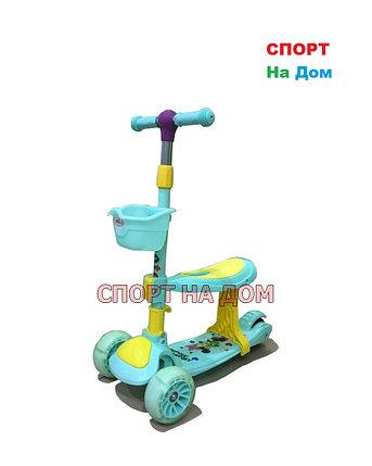 Самокат-беговел детский Микки Маус (голубой) 3+, фото 2