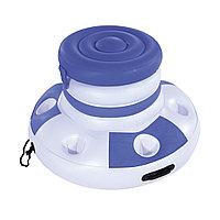 Надувной плавающий термоконтейнер для напитков CoolerZ Floating Cooler 70 см, BESTWAY, 43117, Винил, Объем 12 л., 6 подстаканников, Бело-Синий,