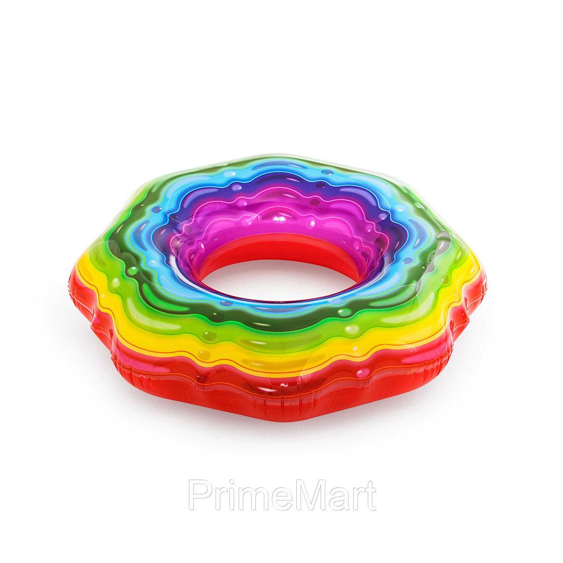 Круг для плавания Rainbow Ribbon 115 см, BESTWAY, 36163, Винил, 12+, Оргинальная форма, Радужный, Цветная коробка
