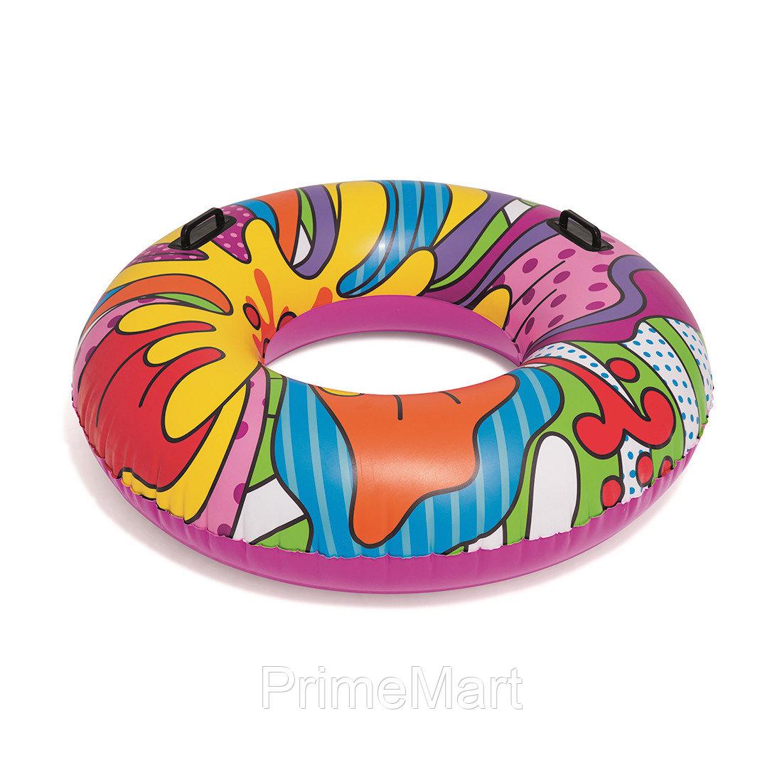 Круг для плавания POP 119 см, BESTWAY, 36125, Винил, 12+, С ручками, Многоцветный, Цветная коробка