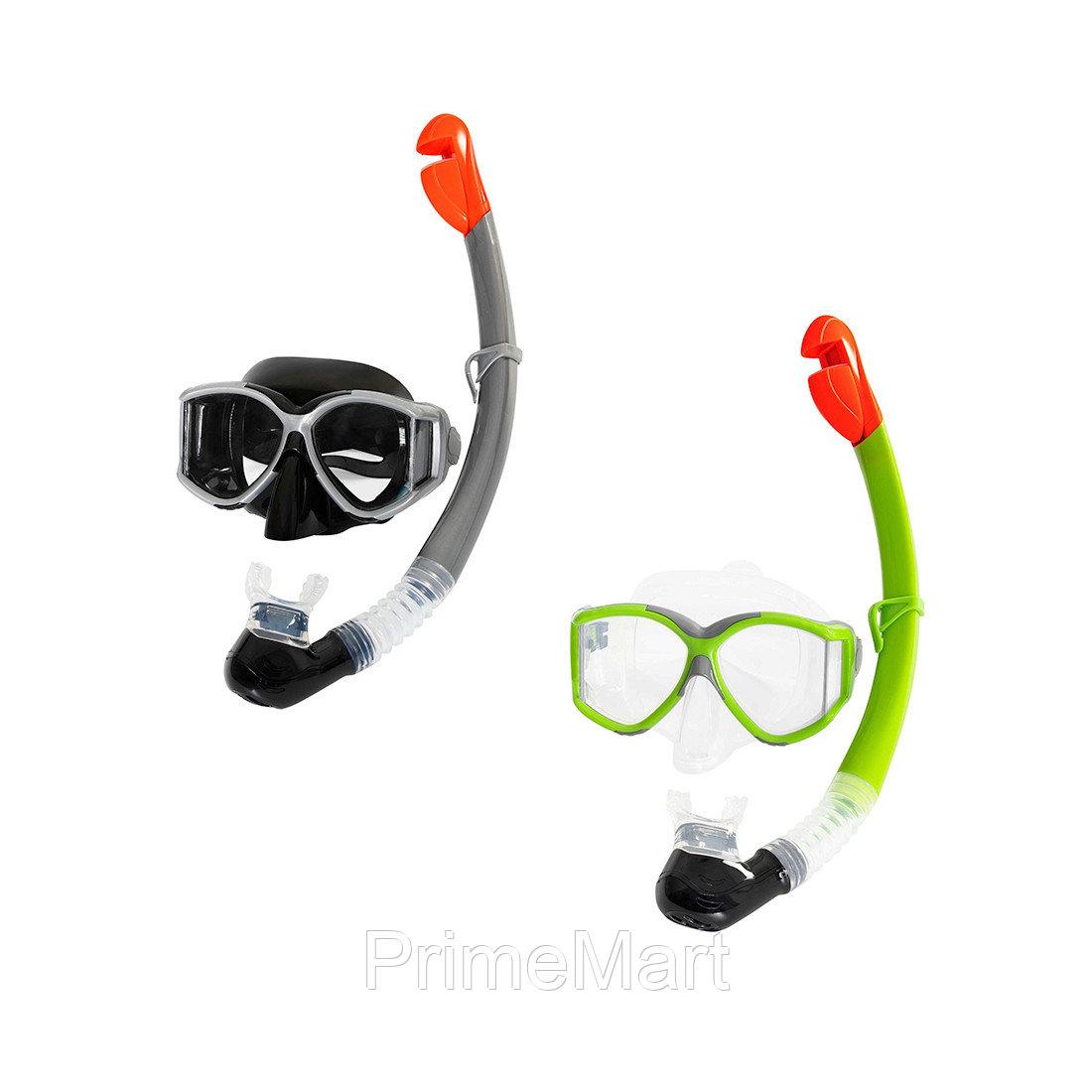 Набор для плавания Trilogy 14+, BESTWAY, 24050, В наборе: маска и трубка(шноркель), Чёрный/Зелёный в ассортименте, Блистер