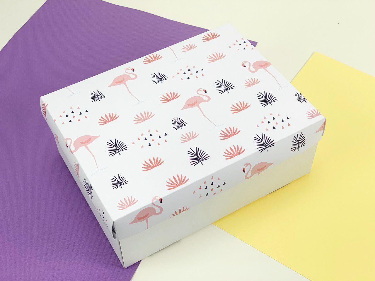 """Подарочная коробка """"Фламинго"""". Размер: 23*17*9"""