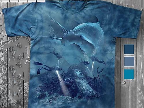 «Акула и аквалангисты» молодежная мужская варенка футболка 3D