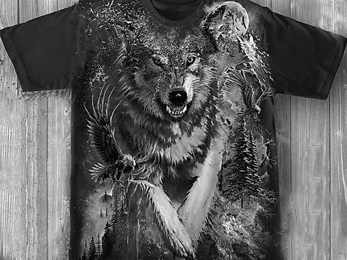 «Волк» молодежная мужская варенка футболка 3D
