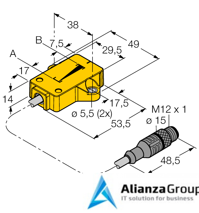 Датчик линейных перемещений TURCK LI25P1-QR14-LU4X2-0,3-RS4/S97