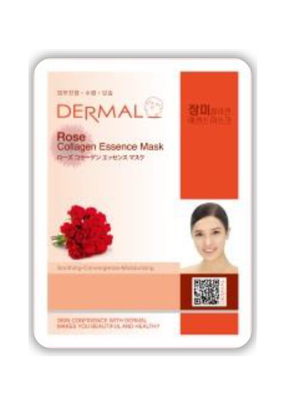 Dermal Rose Collagen Essence Mask Тканевая маска на основе эссенции лепестков розы коллагена