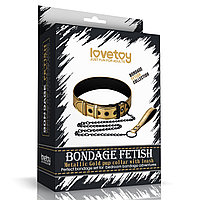 Ошейник с поводком Bondage Fetish Gold, фото 1