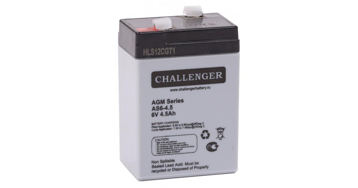 Аккумулятор Challenger AS6-4,5 (6В, 4,5Ач)