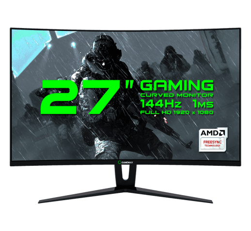"Монитор ЖК 27"" GameMax GMX27C144 <1920*1080, LED, 144Hz, 1ms, колонки 3Wx2, изогнутый, hdmi, dvi, displayport,"