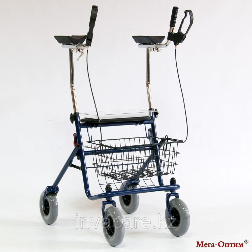 Ходунки-роляторы 4-х колесные с подлокотной опорой и с сиденьем Мега Оптим FS 965 LH