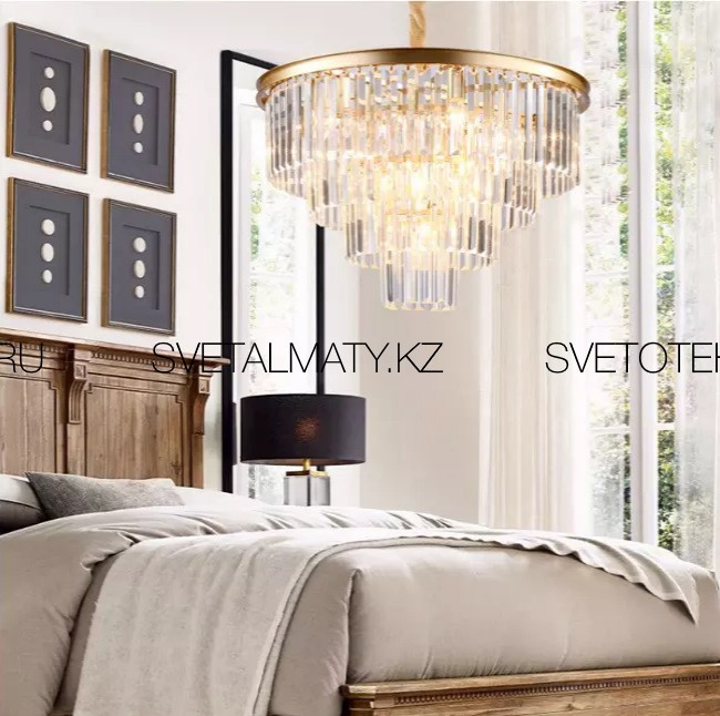 Хрустальная люстра подвесная на 10 ламп в Американском стиле