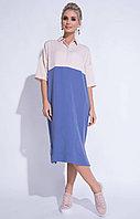 Летнее платье, вискоза, 46-54, розово-синее