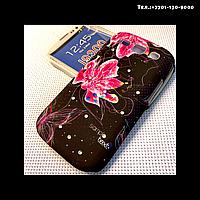Чехол-крышка на телефон Samsung Galaxy S3/i9300 цветы на черном