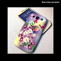 Чехол-крышка на телефон Samsung Galaxy S3/i9300 сиреневые цветы